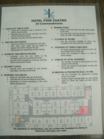 Hotel Pier Cuatro:                   Pier Cuatro's version of 10 Commandments