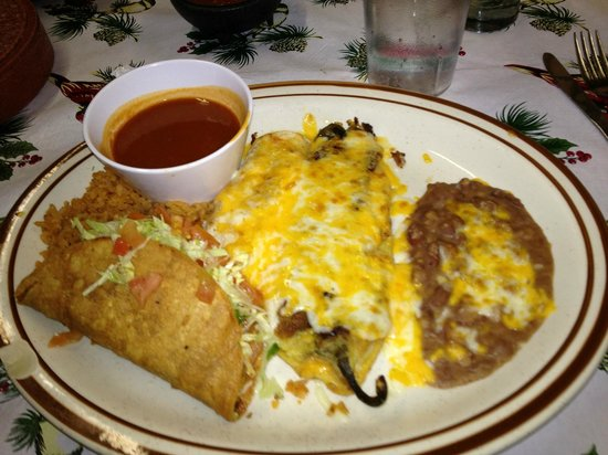 Jorge's Cafe:                                     Taco, chile relleno plate