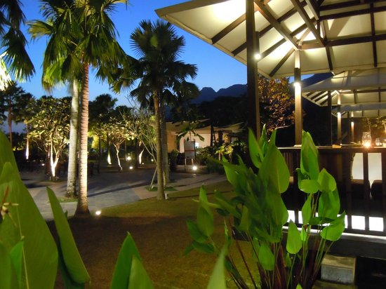 The Danna Langkawi, Malaysia:                   Restaurant outdoor area at night