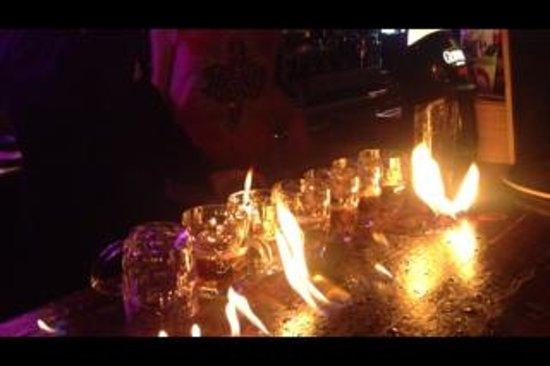 EL Marselles :                   Flaming shots at the bar!