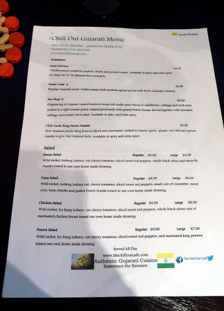 The Chill Out Cafe: Appertizer / salad menu.