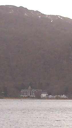 Lodore Falls Hotel:                   from across Derwent water