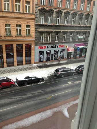 Hotel Praga 1:                   Strip club! View from our room