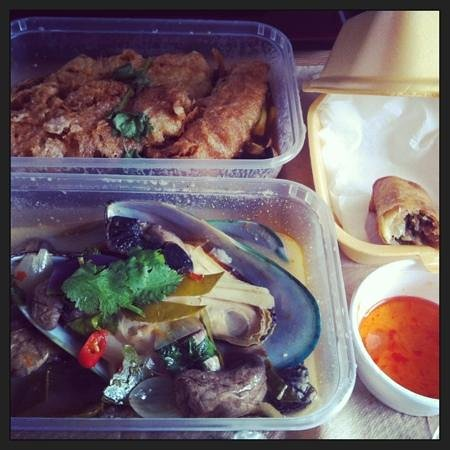Thai-Mere:                   pla preaw wan(fried fillet of tilapia), Thai mussels and Poh Piea(spring roll)