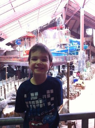 Six Flags Great Escape Lodge & Indoor Waterpark:                   I think he loved the place !!!