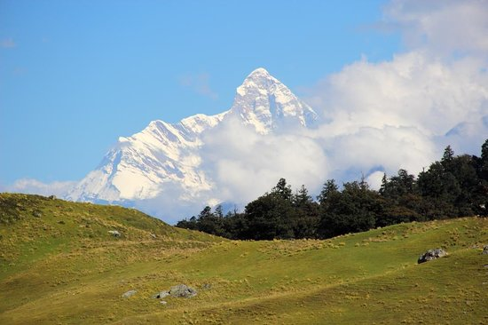 Auli, India: Day Hike: View of  Nanda Devi peak, the patron Goddess of Garhwal & Kumaon and a World Heritage