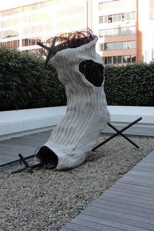 Fundacio Antoni Tapies:                   Giant sock on the Terrace...