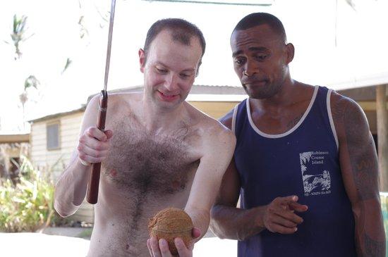 Robinson Crusoe Island:                   opening coconut