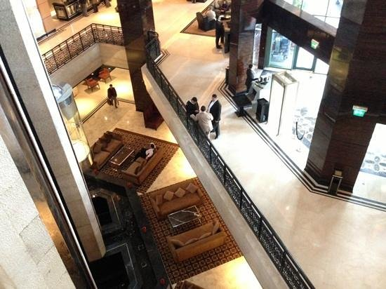 Fairmont Cairo, Nile City:                   view from the elevator to main entrance