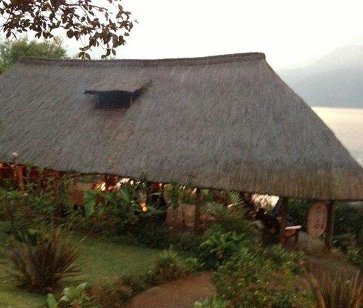 Posada de Santiago:                   The open air bar area by the pool, lakeside