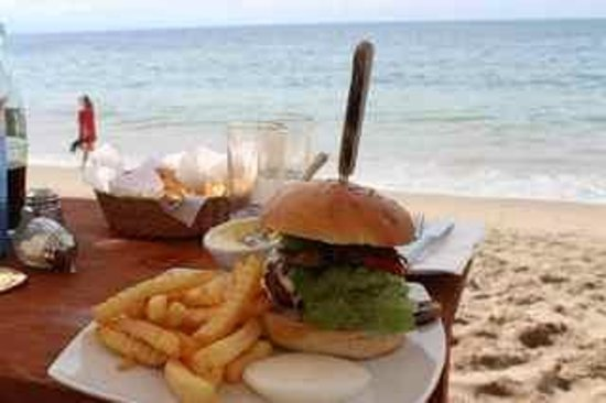 Mahi Beach House:                   Can you believe this burger served to you right on the shoreline!!