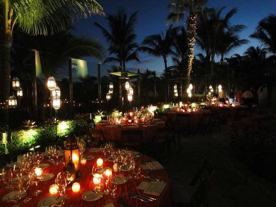 One & Only Palmilla:                   Sit down dinner setup at the Chapel Terrace