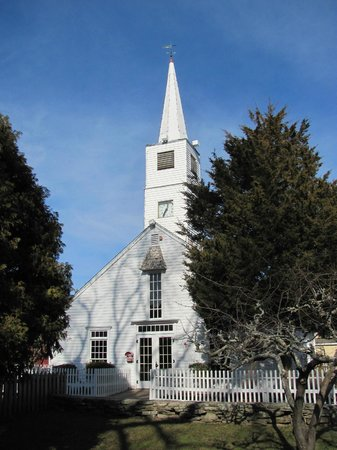 Olde Mistick Village:                   The little church appears to stil hold Sunday services