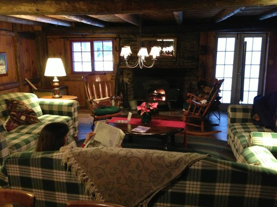 Landgrove, VT: The toasty lounge w/ soft couches & cast iron warmth