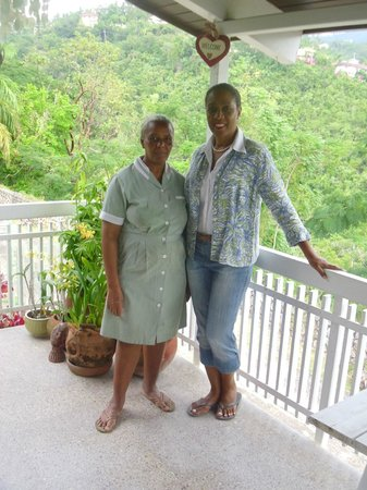 Neita's Nest:                                     On the Verandah of Neita's point. Michelle and Charmaine.