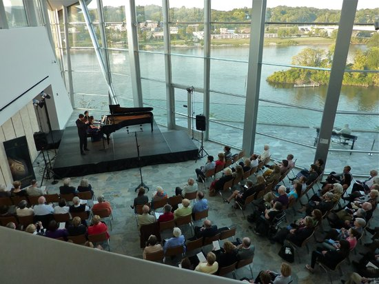Hunter Museum of American Art:                   Looking down on the main floor concert area and the Tennessee River beyond
