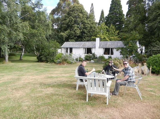 Parkbrae Estate:                   apero in front of the garden cottage