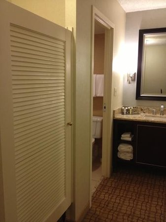 Doubletree Hotel Tulsa-Downtown: saloon door for the closet, not my fave but it has a nice foyer for sink