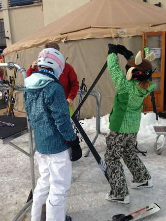 Steamboat Gondola: Top of the gondola prepping for first run