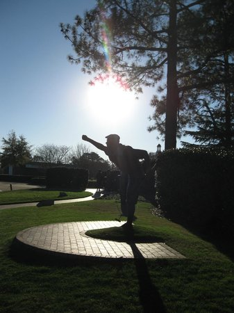 The Carolina Hotel - Pinehurst Resort:                   The iconic Payne Stewart sculpture with Donald Ross and Richard Tufts statues