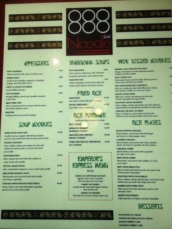 Benihana: 888 Noodles Bar menu