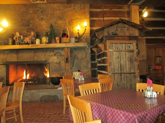 Log Cabin Pancake House :                   inside, the fireplace
