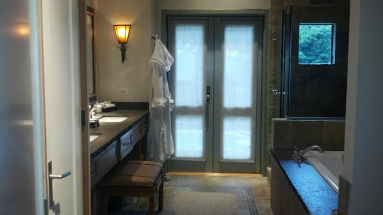 Ventana Inn & Spa:                   Door to deck from bathroom Rm 54