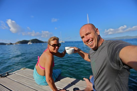 Cooper Island Beach Club:                   Best place for your morning cup of coffee or tea