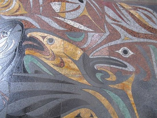 Museum of Anthropology: Contemporary sidewalk mosaic as you enter the museum.