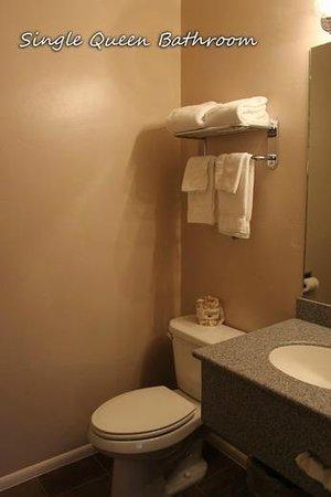 Bowen Motel : Single Queen bathroom w/tub & shower