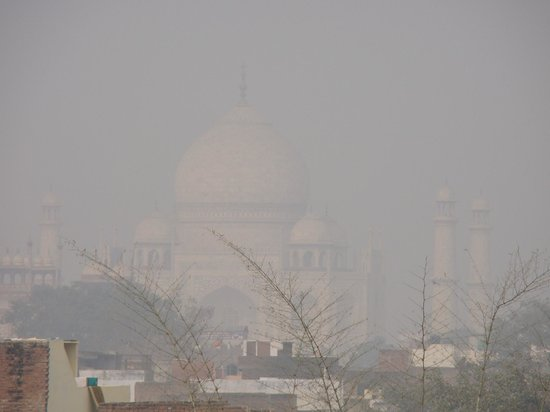 ITC Mughal, Agra:                                     view of Taj on foggy morning