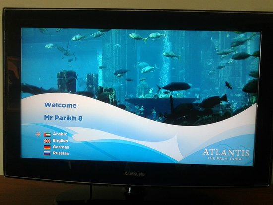 Atlantis, The Palm:                   The TV programmed to my name as I enter