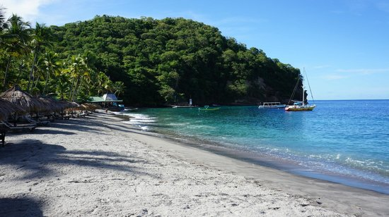 Anse Chastanet:                   View towards beach bar and scuba centre