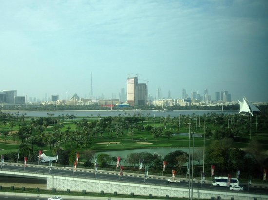 Jumeirah Creekside Hotel:                   View from our 9th floor room when opening the curtains from the bed