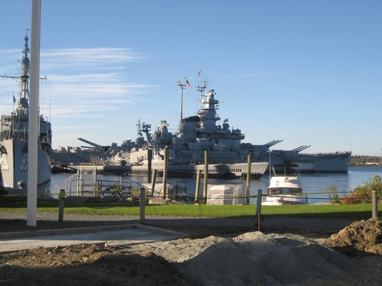 Battleship Cove:                   View of ships at the cove