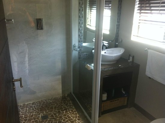 Nduna Lodge: Bathroom with Rain Shower