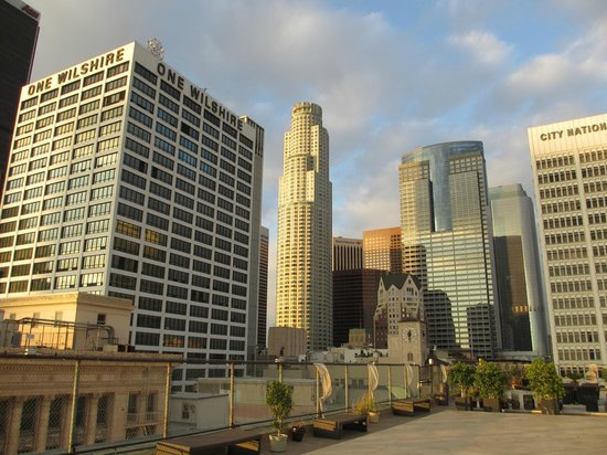 The Los Angeles Athletic Club Hotel:                   The view of LA Downtown from ROOF