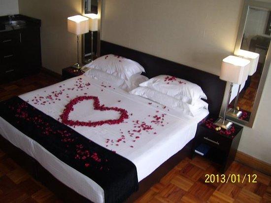 Belaire Suites:                                     Great welcome for honeymoon couple