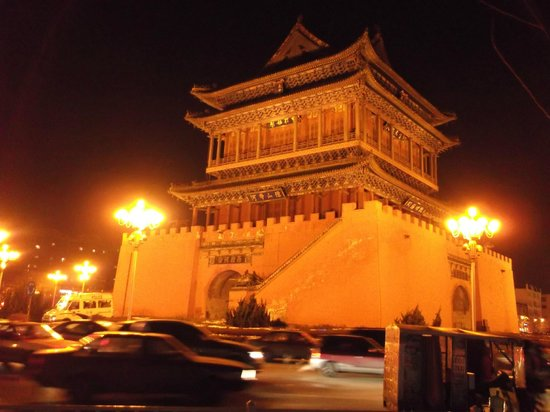 Linfen, China:                   Tower at night