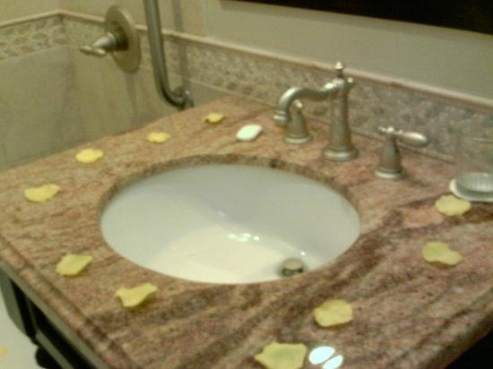 Sandals Inn:                                     Butler room-flower petals on the sink
