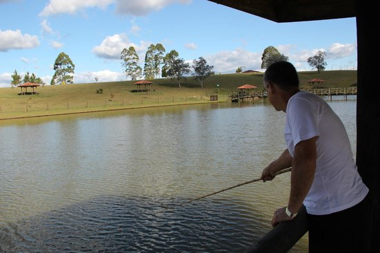Lages, SC:                   Pescando na lagoa.
