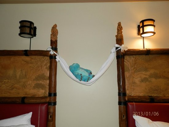 Disney's Wilderness Lodge :                   Surprise! Sully is sleeping in our room...zzz