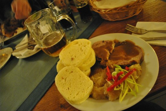 Pivnice U Pivrnce :                   pork and gravy, sauerkraut, and bread