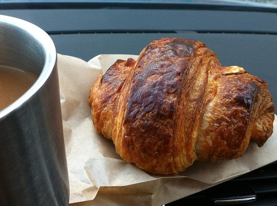 Vergennes Laundry: huge croissant and coffee