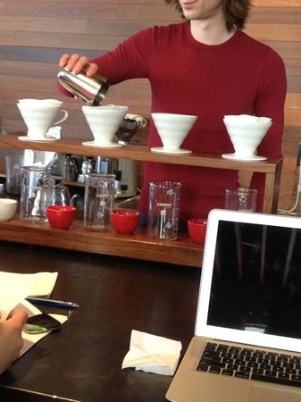 Bold Bean Coffee Roasters:                   pour-over brewing method