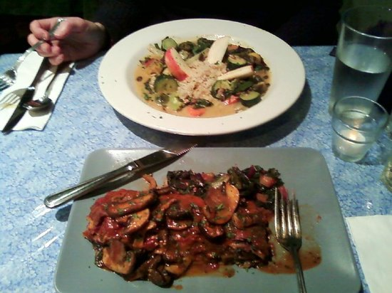 Julia's: Health and hearty portions (we had Salad and pizza bread too