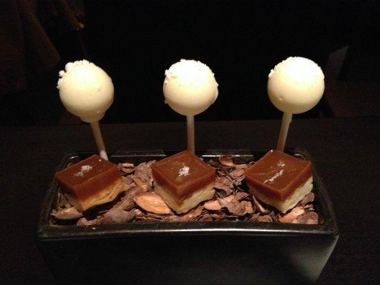 Element 47:                   Dessert finisher.  Lemon filled cake pops and caramel shortbread treats on coc