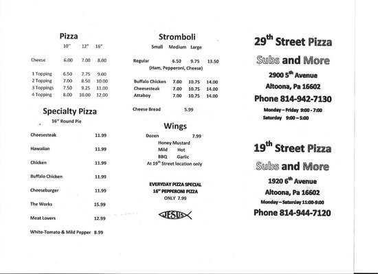 19th Street Pizza Subs and More:                   Menu 1