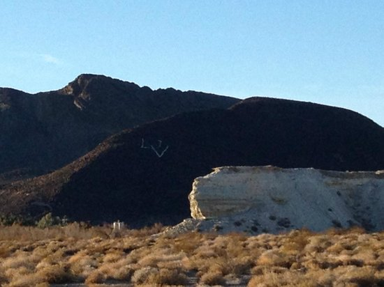 Dublin Gulch: Note the DV marked on the side of the mountain for Death Valley