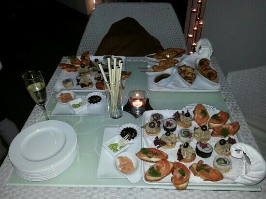 The Landings Restaurant :                   Birthday canapes courtesy of The Landings. Beautiful!